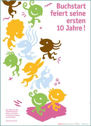 """Plakat/e """"10 Jahre Buchstart"""" auf Deutsch"""