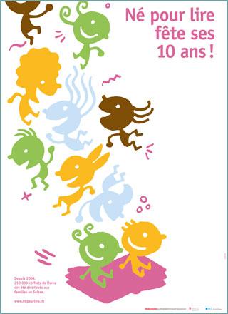 """Plakat/e """"10 Jahre Buchstart"""" auf Französisch"""